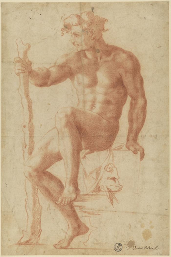 Baccio Bandinelli, Ercole seduto sulla pelle del leone Nemeo, Matita rossa, Firenze, Gabinetto Disegni e Stampe degli Uffizi
