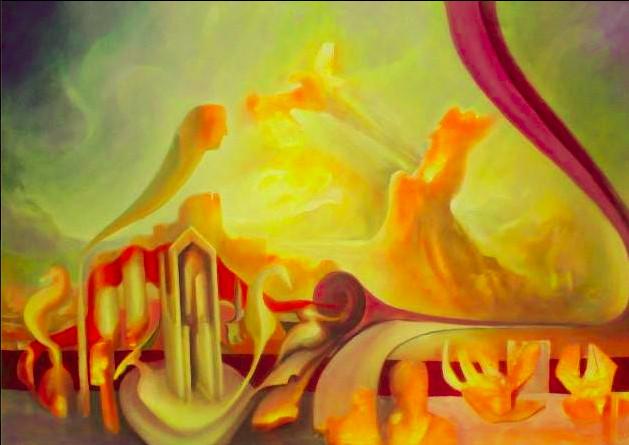 Maurizio La Bianca, Rinascenze - Parte Iv - Il luogo della fantasia, olio su tela, cm. 150 x 95, 2013