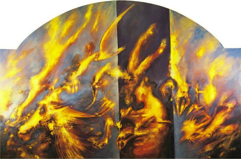 Maurizio La Bianca, L'abisso delle memorie, olio su tavola, cm. 180 x 165, 1997