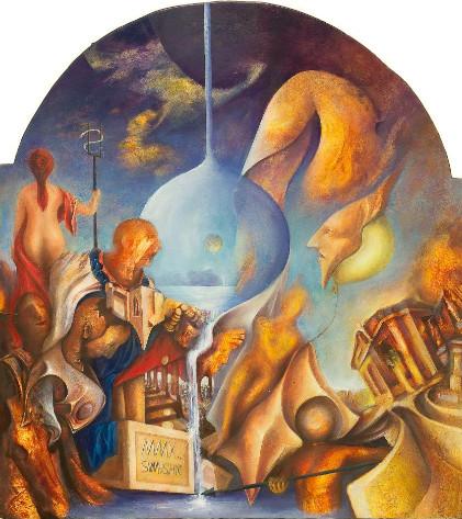 Maurizio La Bianca, Rinascenze- Parte III - E l'acqua si perse nell'acqua, olio su tavola, cm. 140 x 126, 2011