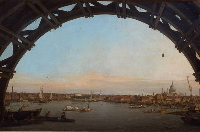 CANALETTO - La City di Londra vista attraverso un'arcata di Westminster Bridge, 1747, olio su tela, Collection of the Duke of Northumberland, Alnwick Castle