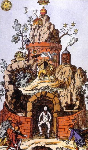 La grotta nell'illustrazione di un antico libro di alchimia