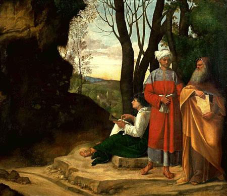 """A sinistra, la grotta nel dipinto """"I tre filosofi"""" di Giorgione"""