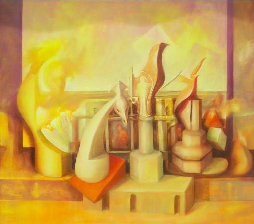 Maurizio La Bianca, Rinascenze-parte IV- Equilibri nel tempo, olio su tela, cm, 150 x 95, 2013