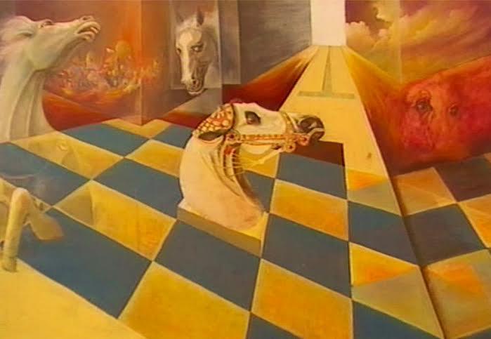 Maurizio La Bianca, Scacco all'imponderabile, olio su tela, cm. 185 x 160, 1978