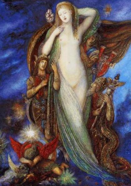 Gustave Moreau, Esaltazione di Elena, 1896-1897. Chagall dimostra di aver guardato con grande interesse le opere del maestro simbolista, sia per i contenuti che per gli accordi cromatici. Egli comunque giunge a una personale trasformazione fauve di quelle suggestioni, spostando il contenuto dalla mitologia di Moreau al leggendario quotidiano della sua vita nel Paese d'origine,alle vicende della comunità ebraica, assegnando alle opere una forte valenza sentimentale