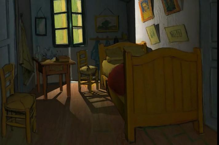 Un fotogramma del video dell'artista Luca Agnani mostra la Camera di Vincent ad Arles con luci e ombre mutate