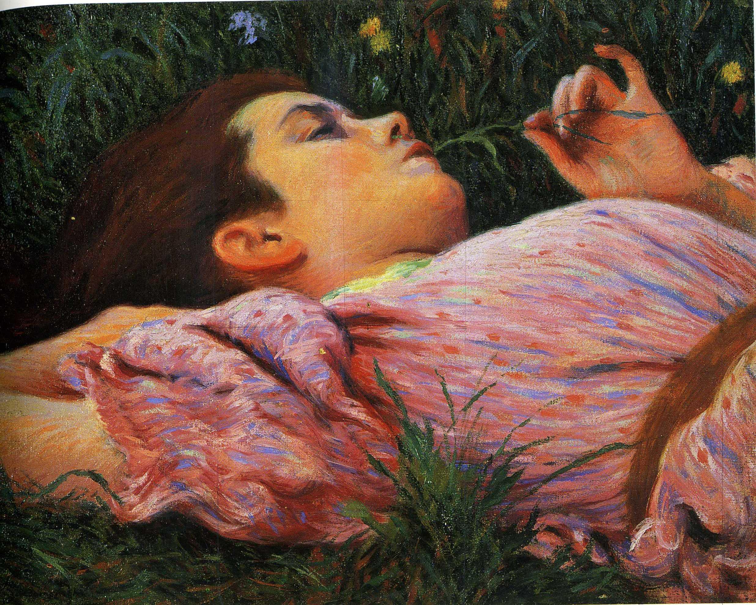 Federico Zandomeneghi, Il filo d'erba (Le repos: jeune fille aux fleurs) , (1884-1894)