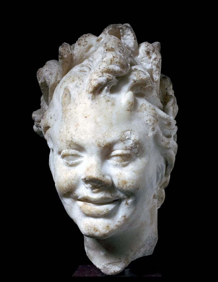 Scultore romano del II secolo d.C., Testa di Satiro, marmo bianco statuario, altezza 29 cm, Roma, Fondazione Dino ed Ernesta Santarelli
