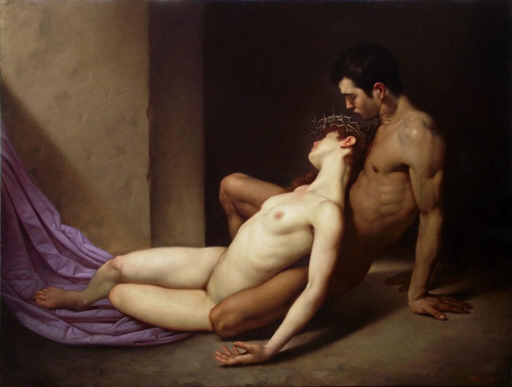 Roberto Ferri  Il Sepolcro degli amanti (2014)  olio su tela 100 x 130