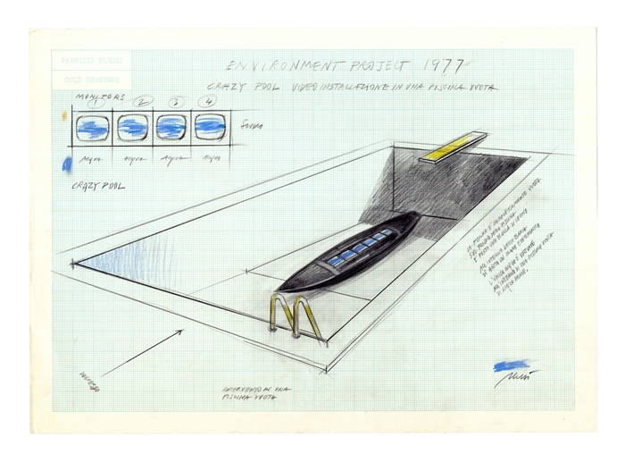 Fabrizio Plessi, Environment project , Progetto per Crazy Pool, video installazione in una piscina vuota, 1977