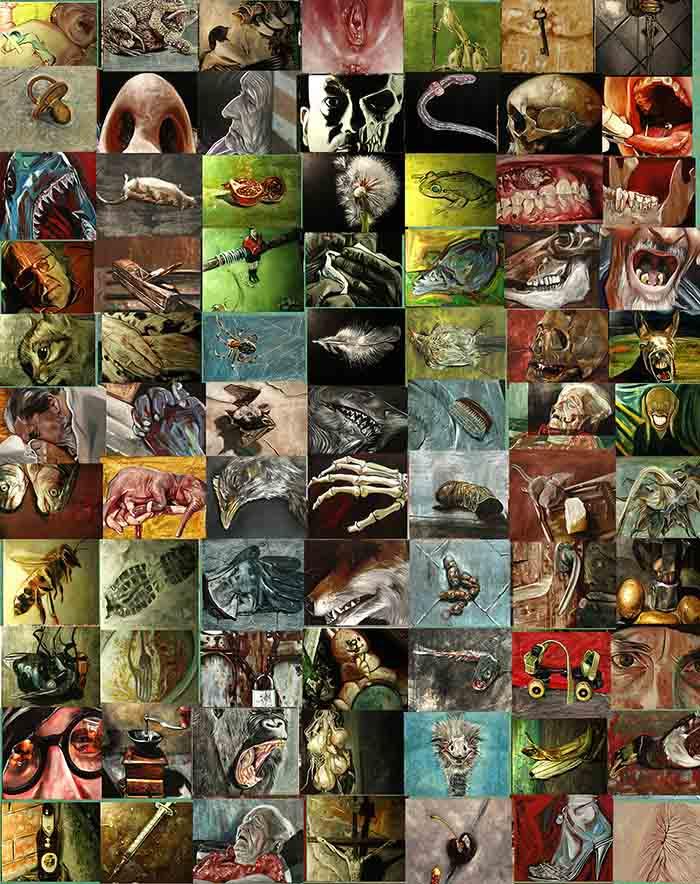 Francesco Federighi Riflessioni quotidiane (2011) Installazione di 101 pezzi olio su tela  40 x 50 cm ogni oli
