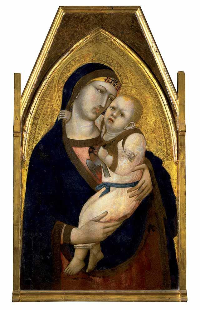 Ambrogio Lorenzetti, Madonna con il Bambino che stringe  il cardellino, pittura su tavola, 100x58 cm, 1340 circa. L'opera è alla mostra ravennate, prestata dalla Pinacoteca Nazionale di Siena