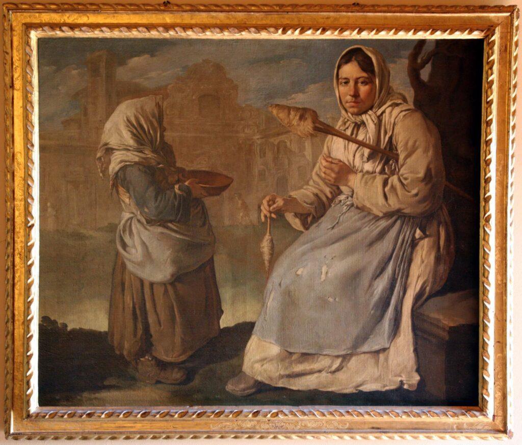 G. CERUTI, Piccola mendicante e donna che fila, 1720-1725 ca., olio su tela, cm 134 x 159, collezione privata