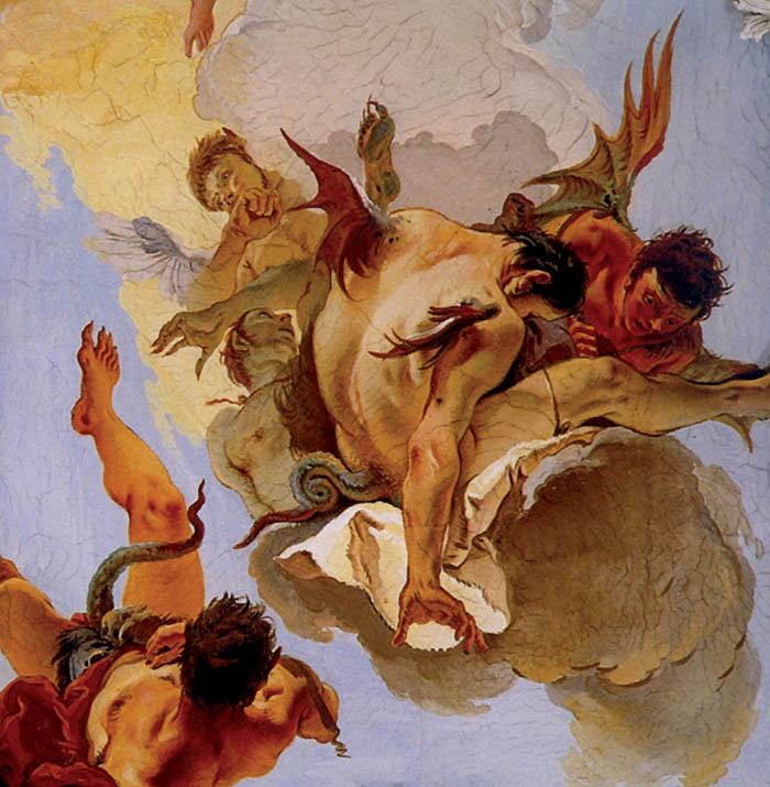 Giambattista Tiepolo, La caduta degli angeli ribelli (particolare)