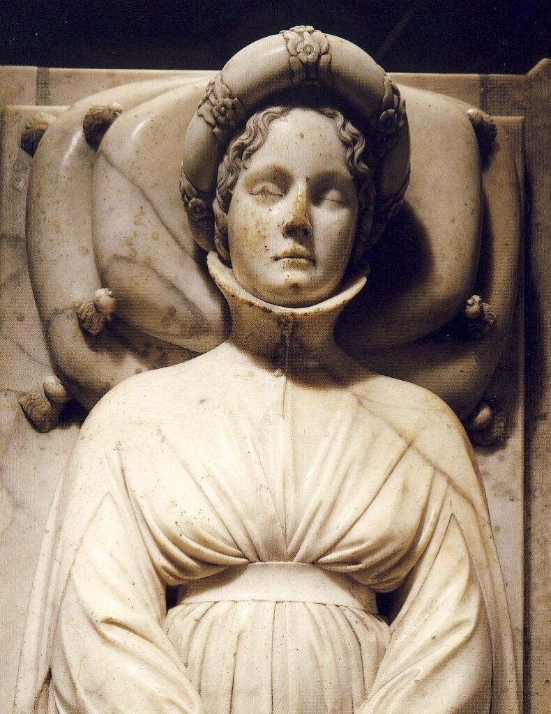 Jacopo della Quercia, Monumento funebre a Ilaria del Carretto, 1406-1408, cm 244x88x66, Lucca, Cattedrale di San Martino, Duomo, transetto nord