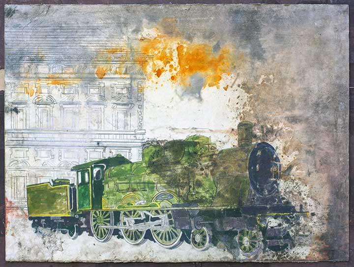 Luca Pignatelli,Treno 1940, 2014, tecnica mista su carta, 56.7x75.7 cm