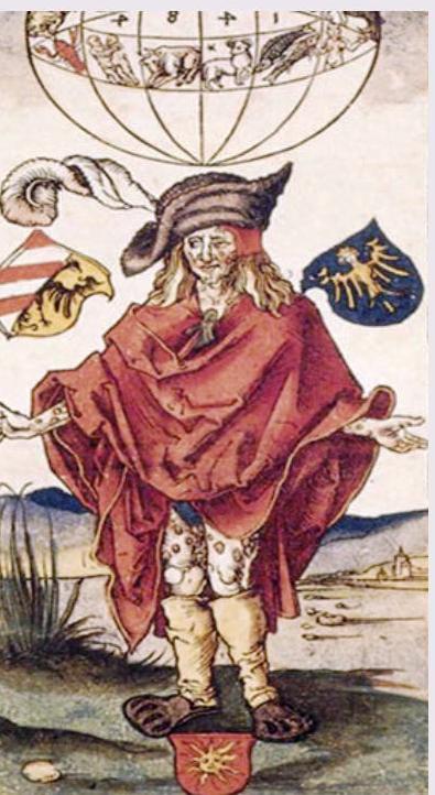 L'incisione realizzata da Albrecht Dürer per rappresemtare la congiunzione astrale abnorme del 1484, che sarebbe stata causa dell'iunsorgenza di una nuova malattia. La patologia fu riconosciuta nella sifilide, malattia nuova che dilagò a partire da qualche anno dopo l'inquietante incrocio degli astri