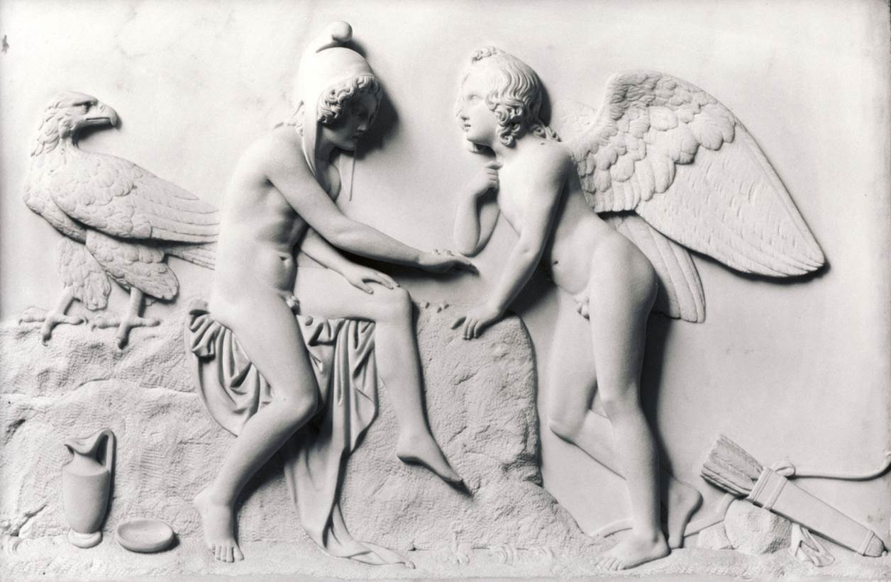 B.THORVALDSEN, Cupido e Ganimede, post 1831, marmo di Carrara, bassorilievo, h. 43, l. 60 cm, Copenaghen, Museo Bertel Thorvaldsen