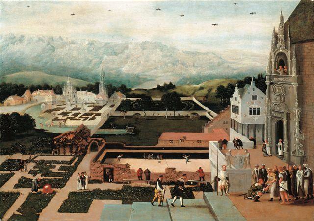 Da  Lucas Gassel, David e Bestabea, 1550. Nel paesaggio è visibile un campo di pallacorda