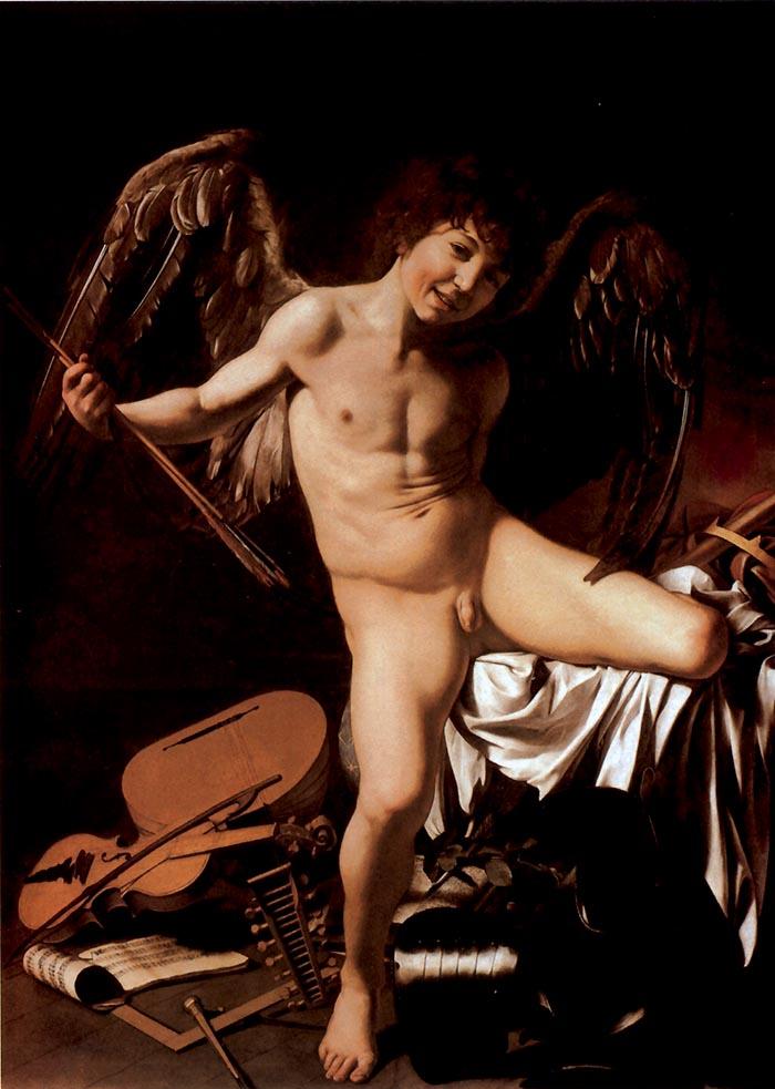 Michelangelo Merisi detto il Caravaggio, Amor Vincit Omnia, 1602-1603, olio su tela, 156x113 cm, Staatliche Museen di Berlino. Amore nudo è Francesco Boneri, detto Cecco, garzone e modello di Caravaggio