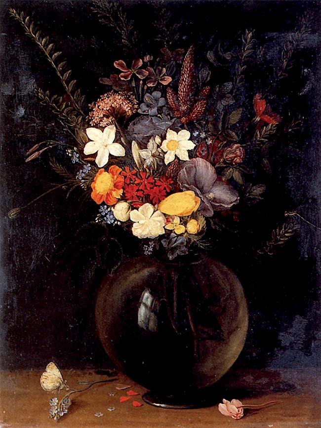 Jan Brueghel il Vecchio, Fiori, olio su rame, 28x21 cm. Il dipinto sarebbe una copia tratta da un'opera di Caravaggio, realizzata durante la sua permanenza nella bottega del Cavalier d'Arpino
