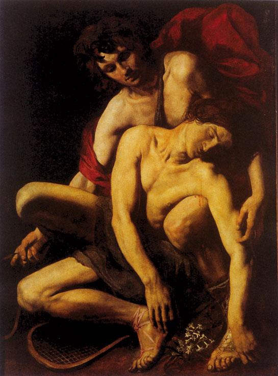 Giacinto agonizzante tra le braccia di Apollo, opera attribuita a Cecco del Caravaggio, prima garzone e modello di Michelangelo Merisi. Francesco Boneri - che secondo alcuni avrebbe avuto una relazione con il suo maestro - aveva, da bambino, posato nudo per il quadro Amor vincit omnia. Nella sua opera, che qui didascalizziamo, appare, alla destra del dipinto una racchetta. Cecco ha forse sovrapposto il ricordo dell'omicidio compiuto dal suo maestro - che colpì un avversario alla coscia, con uno spadino, proprio durante una  partita di pallacorda