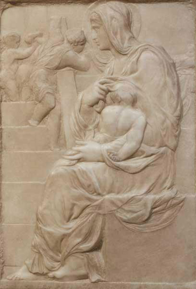 """""""Sez. III - Vita e morte"""" Michelangelo: Madonna della Scala, 1490 circa"""