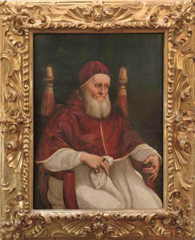 """""""Sezione I - Ritratto di un genio"""" Raffaello Sanzio e bottega: Ritratto di Giulio II, 1512 circa"""