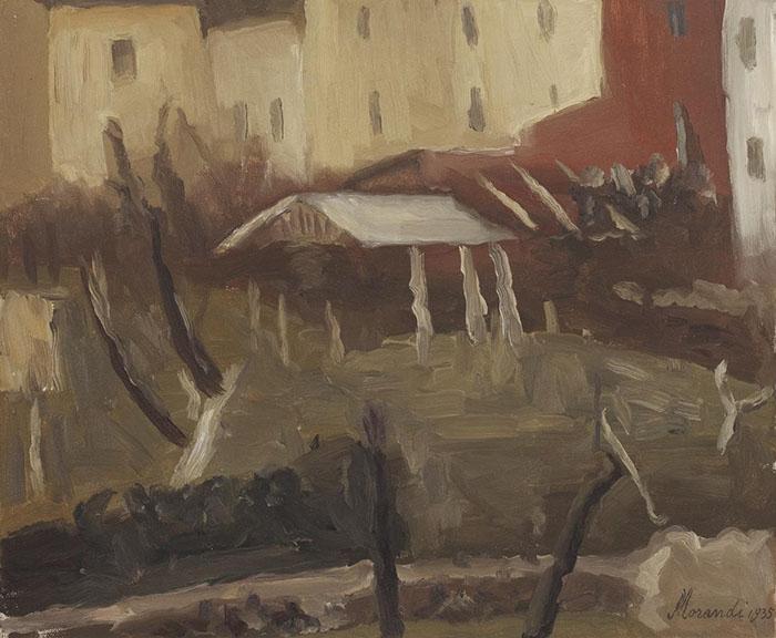 Giorgio Morandi: Il cortile di via Fondazza,1935, olio su tela.Collezione Merlini