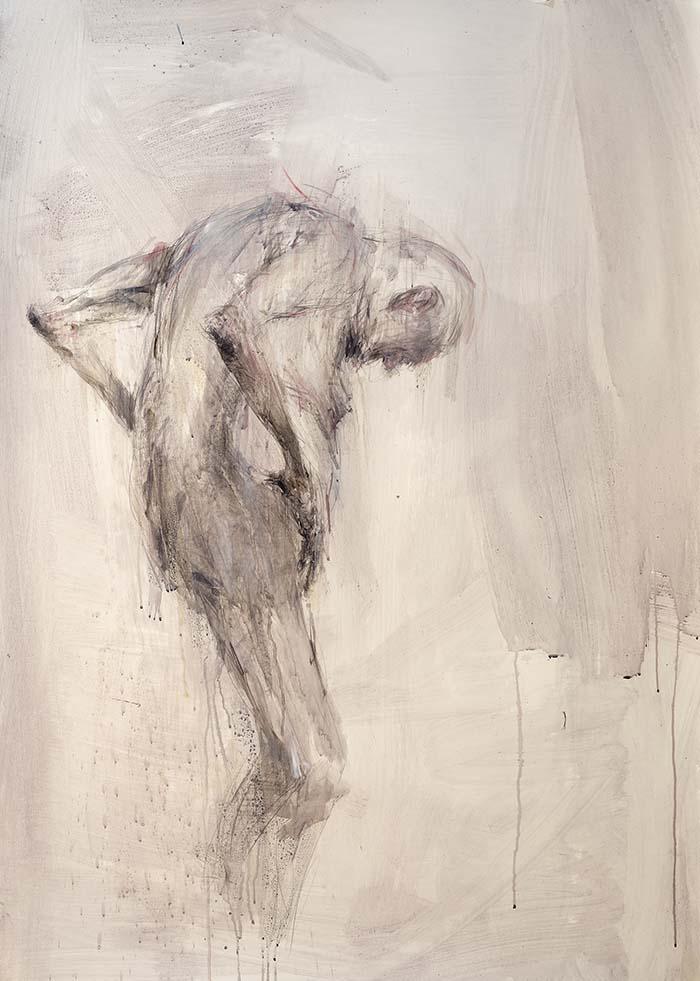 Alessandro Papetti, La pelle attraverso, 2013, acrilico su carta, cm 140x400