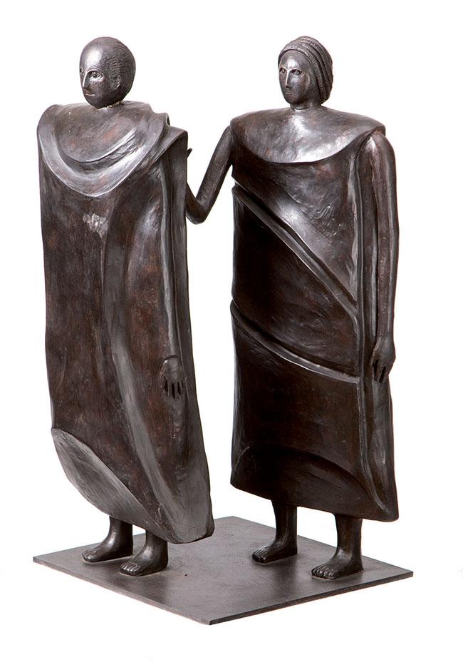 Rachele Bianchi, La coppia, bronzo, 1998, h 66 cm