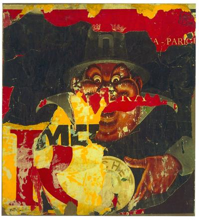 Mimmo Rotella, Le cachet, 1960, décollage su tela, cm 88x81, collezione privata
