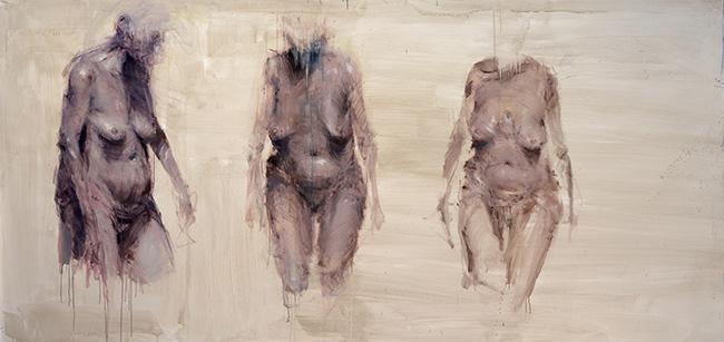 Alessandro Papetti, Trasparenze-Trittico,2013,acrilico su carta,cm 150x305
