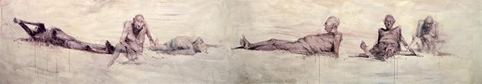 Alessandro Papetti, La pelle attraverso, 2013, acrilico su carta, cm 140x770