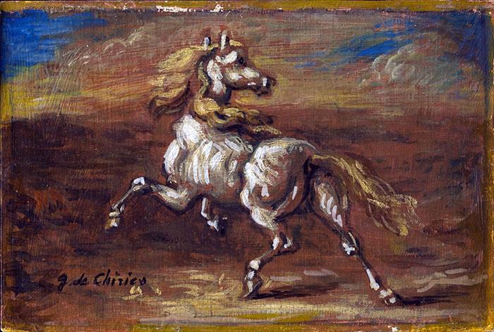 Giorgio de CHIRICO, Cavallino bianco, anni '50, Olio su cartone telato, 19,8x29,5 cm