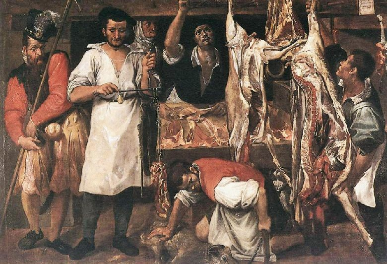 Annibale Carracci, Grande Macelleria, 1585 circa. Olio su tela, 185 x 266 cm. Oxford, Christ Church Picture Gallery