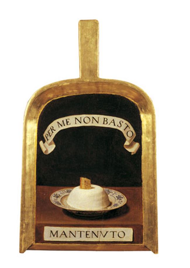"""Lorenzo Lippi (Firenze 1606-1665) Pala di Baldassarre Suarez detto il """"Mantenuto"""" 1650 circa Olio su tavola Firenze, Accademia della Crusca"""