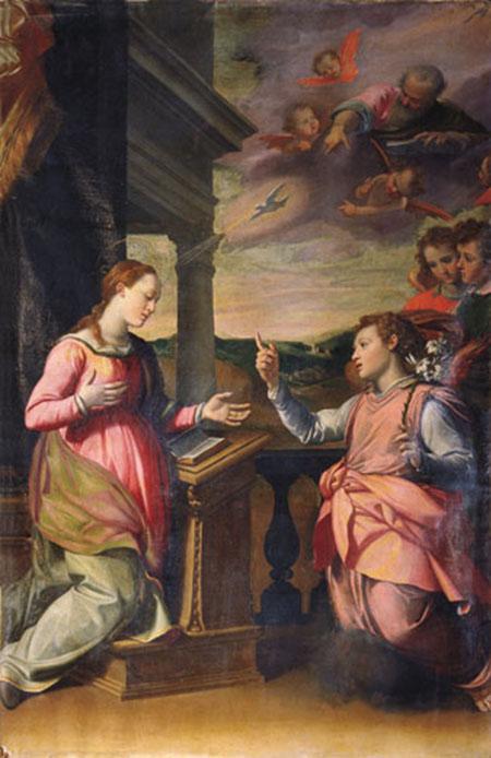 Santi di Tito (Borgo San Sepolcro 1536-Firenze 1603) Annunciazione 1575 circa Olio su tela Scrofiano (Sinalunga), oratorio della Compagnia del Santissimo Salvatore