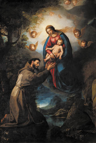 Jacopo Ligozzi La Madonna col Bambino appare a San Francesco 1618 olio su tela Firenze, Galleria Palatina