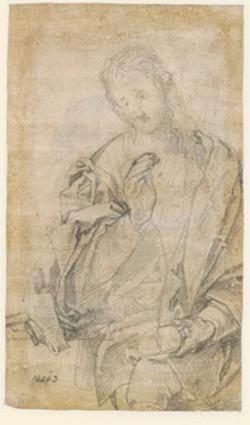 Pontormo (Jacopo Carucci; Pontorme, Empoli 1494-Firenze 1557) Studio di figura per la Cena in Emmaus 1524-1525 circa Matita nera Monaco, Staatliche Graphische Sammlung