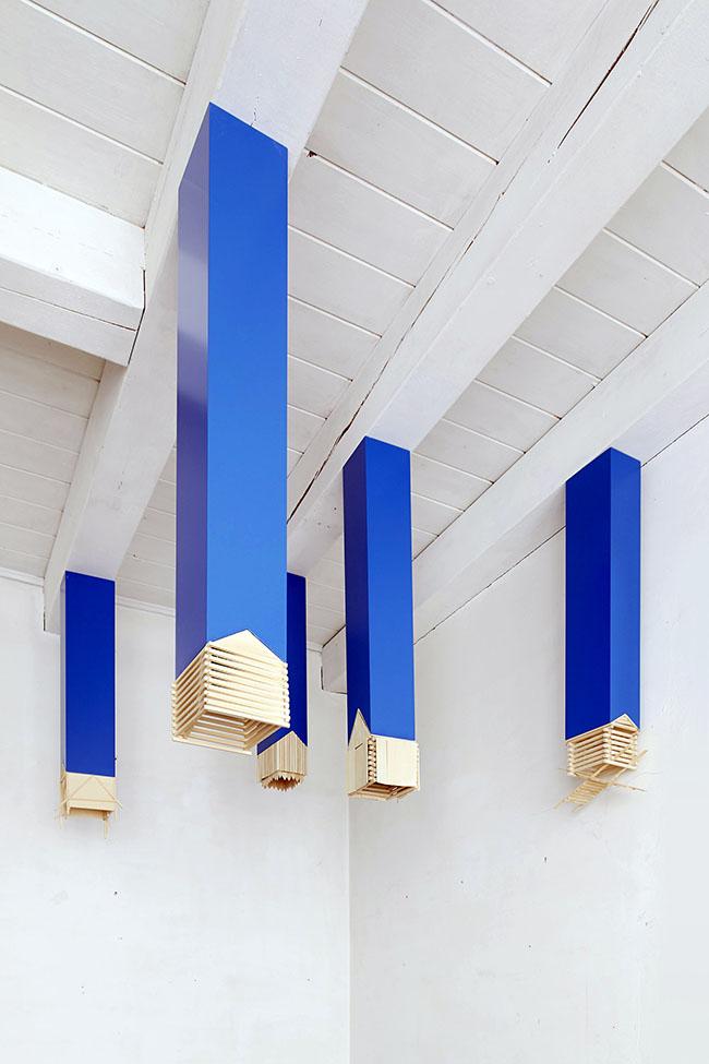 Willy Verginer, Mediei, 2014, installazione di 6 elementi, diversi tipi di legno, aletezze massima 124 cmminima 73cm (23)