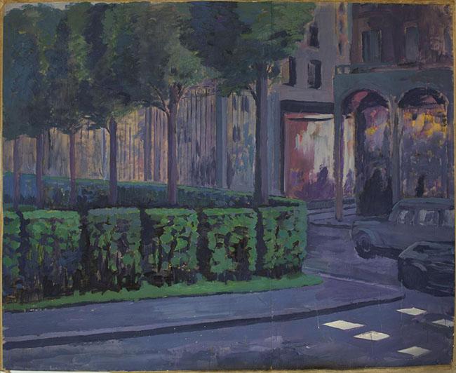 Mikhail Roginsky: Paesaggio parigino (rue de Rivoli), 1981, Acrilico su carta. Courtesy Mikhail Roginsky Fondazione © Mikhail Roginsky, ACS London 2014