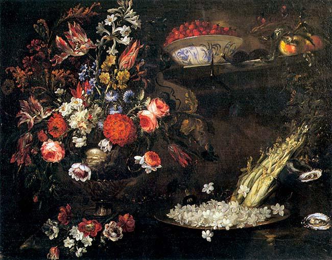 Giuseppe Volò detto il Vicenzino, Interno  con vaso istoriato di fiori, piatto di gelsomini, ostriche, verdure, fragoline e due pesche