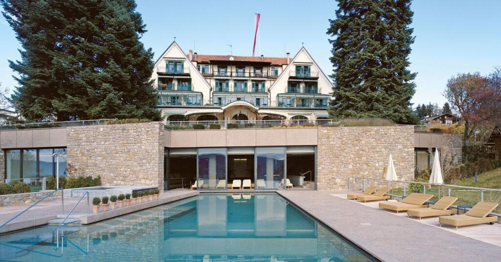 Parkhotel Holzner, Soprabolzano/Renon,1907: Costruttori Musch & Lun, Merano. Progetto dello Studio di architettura Fratelli Ludwig, Monaco di Baviera (1911, non realizzato). Area wellness 2006-07