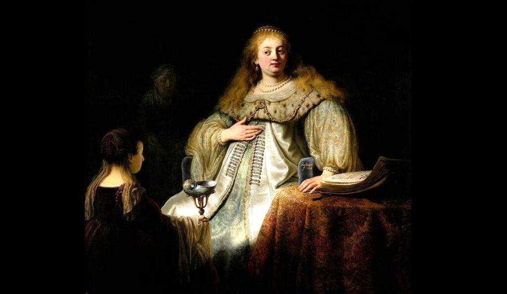 Rembrandt Harmenszoon Van Rijn, Artemisia riceve le ceneri di Mausolo, 1634, olio su tela, 142×153 cm, Madrid