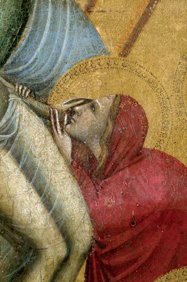 Giovanni Baronzio, pannello con scene della Passione, particolare della Deposizione