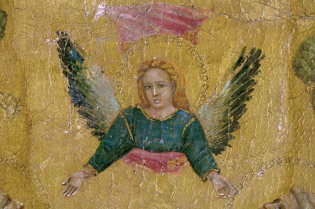 Giovanni Baronzio, pannello con scene della Passione, particolare dell'Ascensione (durante il restauro)