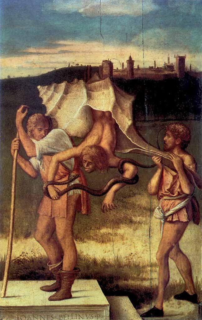 Giovanni Bellini, Invidia o Accidia o Rinascita,  dal restelo di Vincenzo Catena. Il quadro rappresenta i rischi della pigrizia nel maschio, divenuto un mollusco. In preda al vizio dell'invidia, l'uomo trascende nell'ira