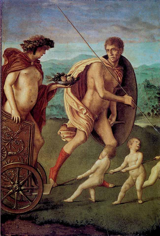 Giovanni Bellini, Perseveranza, dal restelo di Vincenzo Catena. L'opera appare come un monito ai rischi della gola e dell'accidia